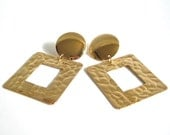 Vintage Textured Gold Squares // Clip on Earrings