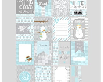 Snow Day Winter Journal cards. Perfect for Project Life. Instant Download