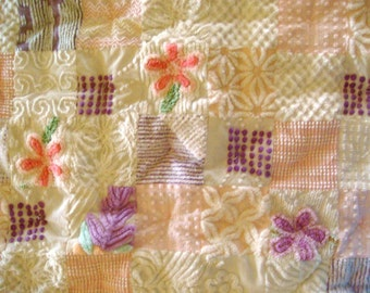 Custom Order Example PURPLE RAIN, PINK Clouds ~ a Made-to-Order Vintage Cotton Chenille Patchwork Quilt