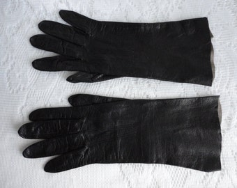 Vintage Black Kid Women Gloves Size 6 1/2 Lenght 10 inches