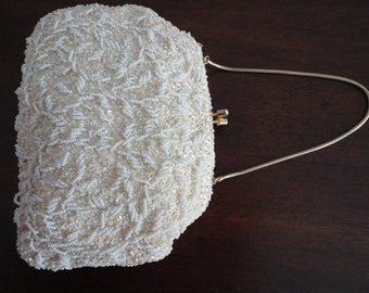 Vintage Bridal Fully  White Glass Beads & Sequins Evening Purse Hand Made in Hong Kong