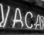 Vacancy - Black and White Hotel Motel Psycho Photography Neon Sign Fine Art Print - 8x10 Photograph