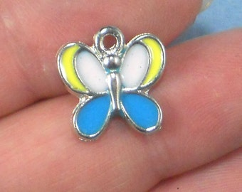 5 Butterfly Charms Enamel & Silver Tone Blue Yellow Pale Pink (P1732)