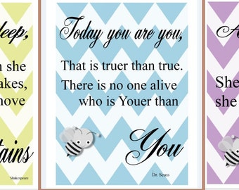 Inspirational prints for a little girl's room. Oher color choices available at your request.