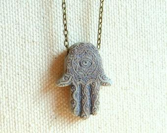 Hamsa necklace evil eye necklace spiritual jewelry protection amulet hand of fatima jewelry hamsa jewelry hippie jewelry