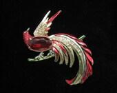 Vintage Large Red Rhinestone Enamel Peacock Bird Pin 40s