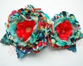 turquoise blue red teal flowers, weddings hair accessory, bridal hair flowers, corsage, bridesmaids headpiece, flower girl, bridal sash