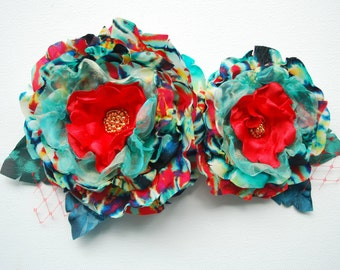 turquoise blue red teal flowers, weddings hair accessory, bridal hair flowers, corsage, bridesmaids headpiece, flower girl, bridal sash