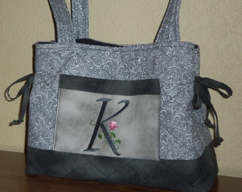 Personalized Tote Bag Handbag Quilted and Monogrammed with Elegant Floral Font in Gray Print Fabric