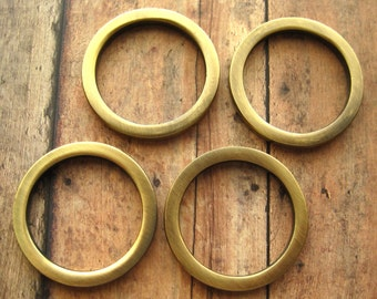 Antique Brass D Rings 1 1/2 Inch Flat Round Circle Set of 4