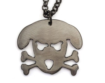 Metal Outlaw Doggy - Holmes - Pendant on Gunmetal Chain by WATTO Distinctive Metal Wear