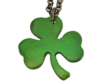 Green Shamrock Charm/ Clover Necklace/ Irish/ Celtic/ 3 Leaf Clover/ Lucky Charm/ Shamrock Necklace/ Necklace For Men/ Men Necklaces