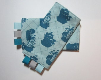 Teething Pads - Chew Pads - Ergo, Boba, BabyHawk and More -Pirate Matey's, Pirate Ships Blue