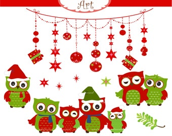 Owl clip art, christmas clip art, Christmas Owls ,christmas bunting, x mas clip art, instant download