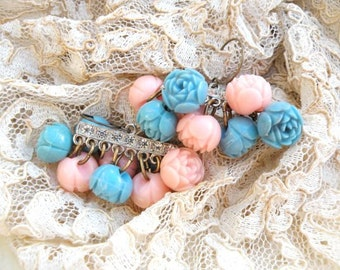 earrings celluloid rose assemblage cottage chic pink blue