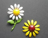 Vintage Enameled Daisy and Black Eyed Susan Flower Brooch. Set of 2. RESERVED