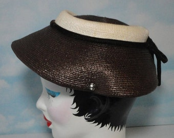 Vintage Brown and Tan Soft Straw Hat. 1940s