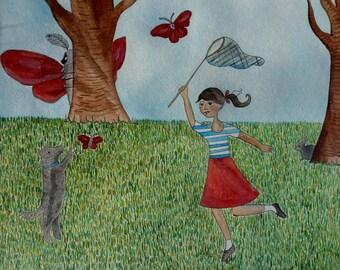 Horace Cowers Behind the Tree when he Spots the Menacing Moth Hunters Original Art Illustration Whimsical Folk Animal Fun