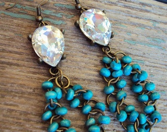 Bohemian Chic Earrings Beaded Wood Turquoise and Faceted Clear glass Rhinestones in antique Brass