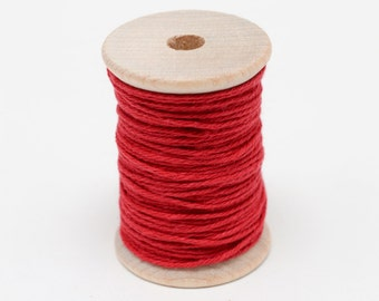 Baker's Twine - 20 Yards - Solid Red - Rouge - 4 Ply Twine on Wooden Spool