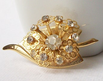Vintage Rhinestone Flower Brooch, Bridal Bouquet