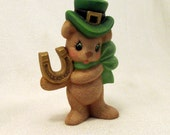 Ceramic Lucky St Patricks Day Bear with Lucky Horseshoe