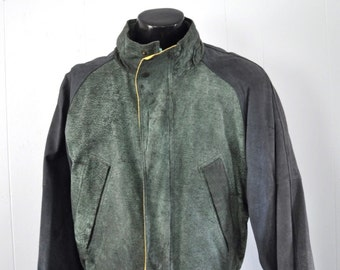 Rare Vintage 80s M Julian Leather Jacket Bomber style Green Preppy Hipster LARGE