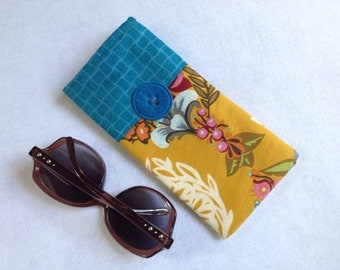 Sunglasses Case, large size glasses sleeve, mustard gold and teal blue floral  cotton,  eyeglass cozy, soft case, gift for women