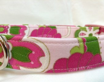 Preppy Pink Green Flowers Fabric Dog Collar for Girl