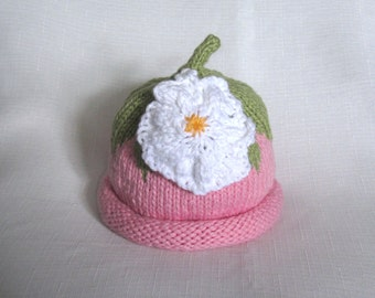 Pink Flower Hat, Knit Organic Cotton Baby Hat, great photo prop