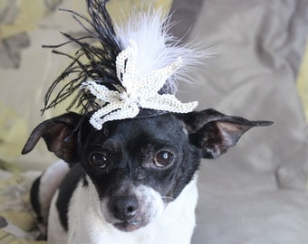 Cute black   color  mini  hat with    feather and   flowers