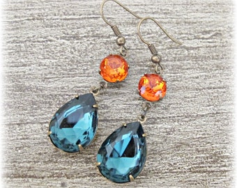 Estate Style Drop Earrings Orange Blue Glam It Up Jewelry Wedding Jewellery Women Bridal Wedding Hollywood Glamour Vintage Statement For Her