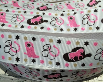 """7/8"""" Glitter Western Cowgirl Horse Boot Grosgrain Ribbon sold by the yard"""