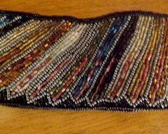 Vintage 80s Beaded Feather Design Cummerbund Disco Belt S M Free Domestic Shipping