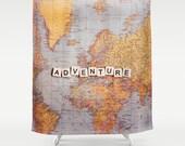 Adventure Fabric Shower Curtain,world map,travel,typography,home decor,bath tub,neutral,beige,yellow,bathroom