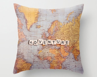 Map pillow,18x18 or 22x22, travel pillow, typography, quote,cushion,decorator pillow, wander, homewares, photo pillow