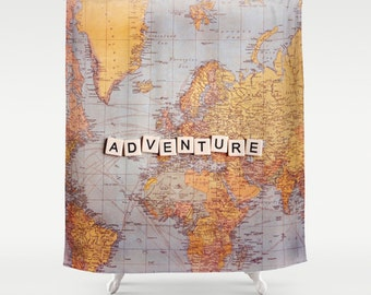 Adventure Fabric Shower Curtain,world map,travel,typography,home decor,bath tub,neutral,beige,yellow,bathroom