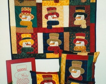 Snowman Club Pillow/ Wall hanging Pattern With Free Buttons & Free shipping