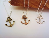 Best friend gift, anchor friendship necklaces. Set of three. Silver, bronze, copper charms. Custom initial charm option. Gift trio.