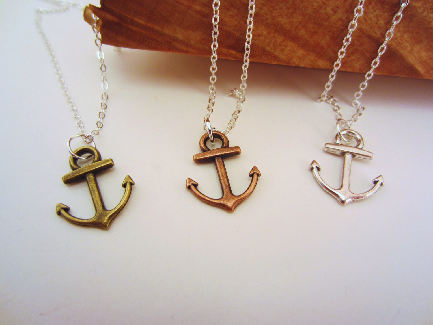 3 best friend necklaces. Anchor necklace. Best friend gift.