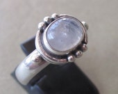 Balinese Sterling Silver Moonstone Ring / request your size / silver 925 / Bali Handmade Jewelry