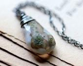 Terrarium Necklace, Moss Green Solar Quartz on Sterling Silver Chain - Sherwood -  Woodland Summer Fashion Rustic Green Necklace