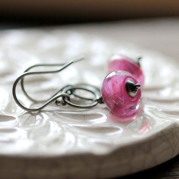 Pink Earrings - Glass Beads with Sterling Silver Hoops - Raspberry Jam - Summer Fashion Trends Lampwork Glass