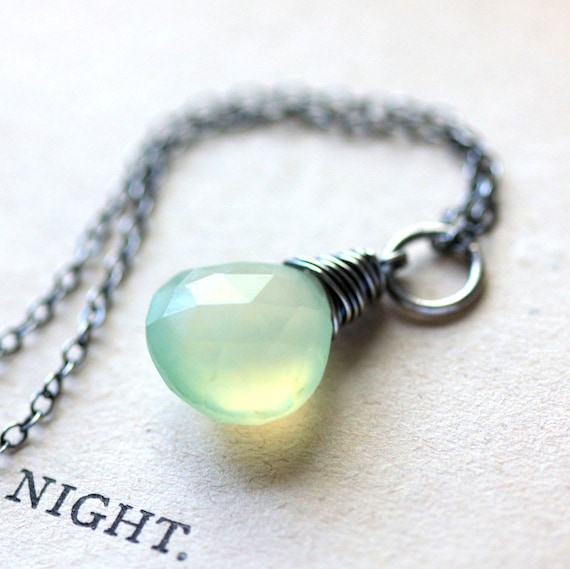 Green Opal Necklace Chalcedony Wire Wrapped on Sterling Silver Chain, October Birthstone - Absinthe - Seafoam Mint Summer Fashion