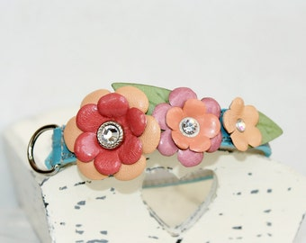 Sammer Garden  Leather Dog Collar , Blue and Shades of Pink Genuine Leather , Swarovski crystals