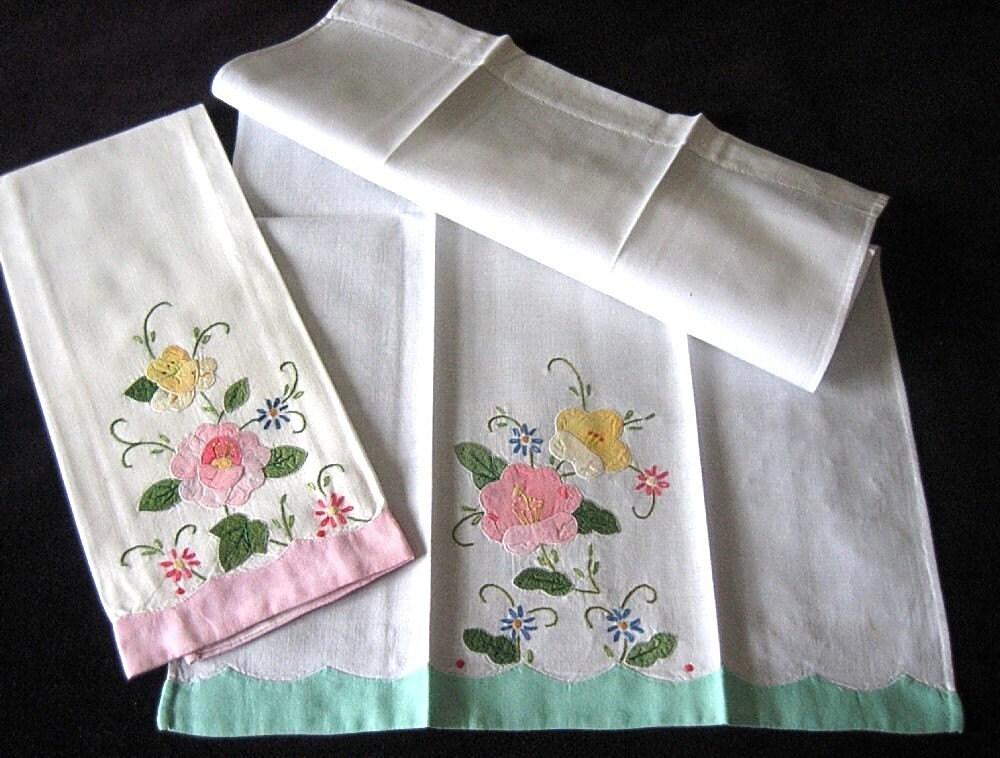 Towel Vintage Kitchen Bath Cloth Towels Embroidered Applique