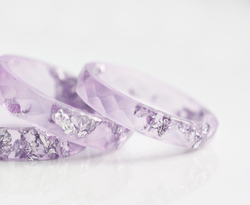 Lavender Resin Ring Stacking Ring Silver Flakes Faceted Ring