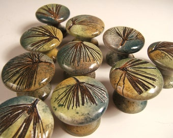 10 cabinet knobs drawer pulls dresser pulls  ceramic knobs white pine, unique, in green leaf glaze