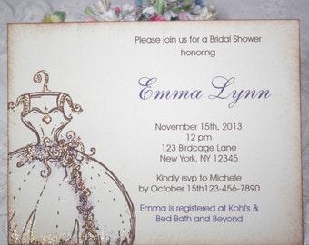 Elegant Wedding Dress Invitations - Bridal Shower - Dark Purple Flowers - Engagement - Birthday - Baby - Christening - Set of 10
