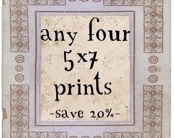 Fine Art Photography -  Four 5x7 Fine Art Prints - Customize Sale